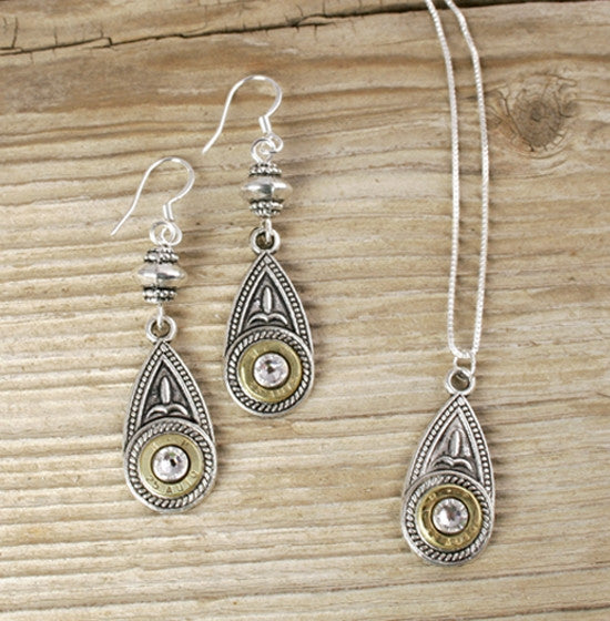 25 Auto Brass Antiqued Silver Teardrop Dangle Earrings and Necklace Set