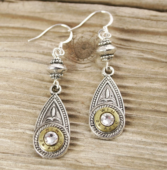 25 Auto Brass Antiqued Silver Teardrop Dangle Earrings