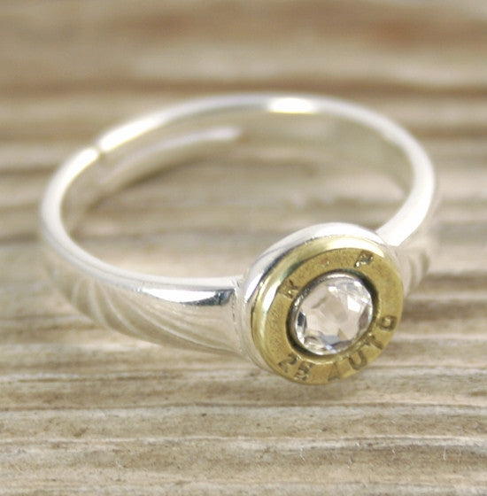 25 Auto Bullet Ring, Adjustable Sterling Silver