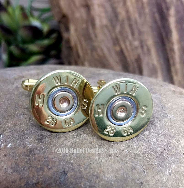 28 Gauge Shotgun Brass Bullet Cufflinks