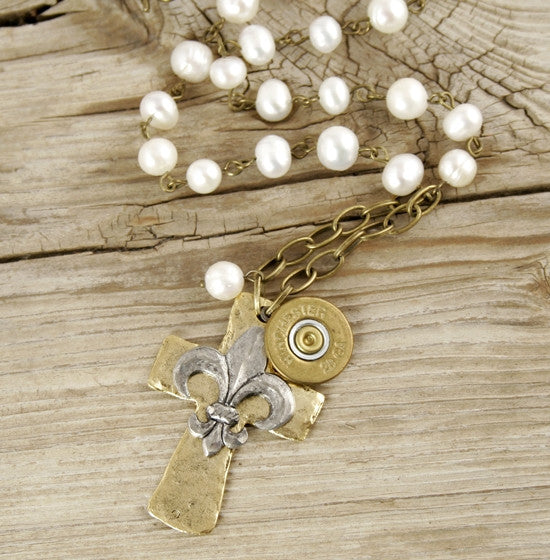 28 Gauge Shotgun Shell Dangle Cross & Pearl Chain Necklace