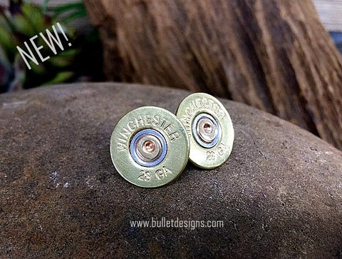 28 Gauge Brass Shotgun Stud Earrings