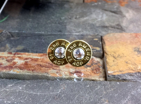 2nd Amendment Ammunition Brass Bullet Stud Earrings PREORDER