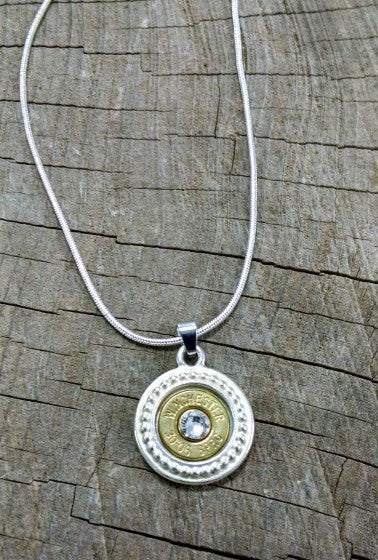 30-06 Thin Brass Bullet Silver Medallion Necklace