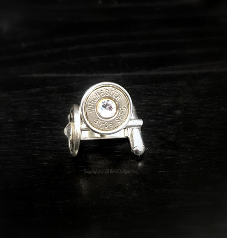 Silver and Crystal Cufflinks