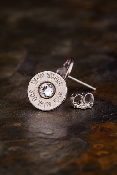 300 Mag Bullet Head Stud Earrings