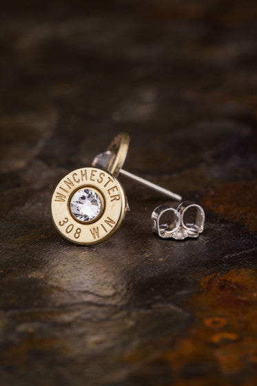 308 Bullet Head Stud Earrings