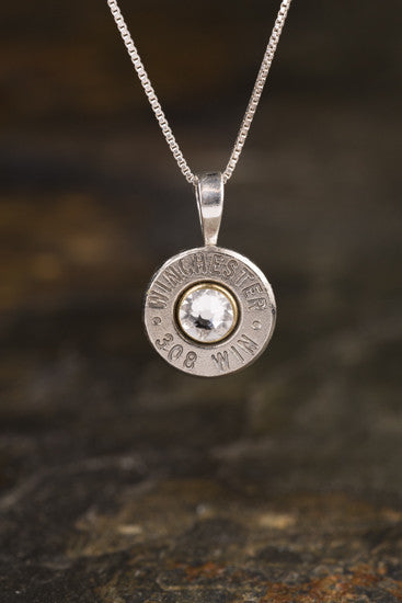 308 Sterling Silver Bullet Head Necklace