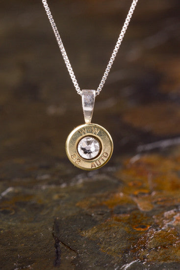32 Auto Brass Sterling Silver Bullet Head Necklace