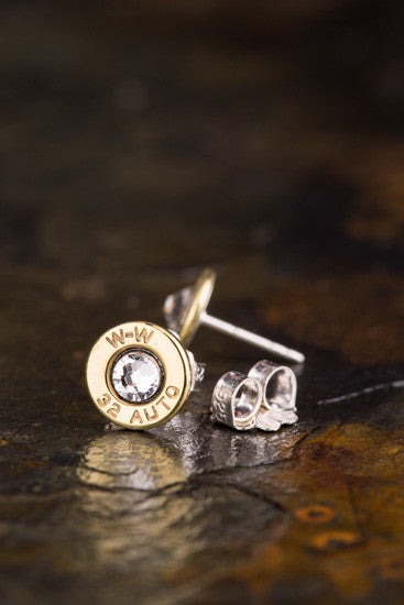 32 Auto Brass Bullet Head Stud Earrings