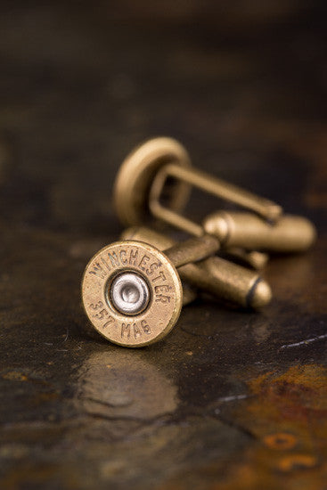 Winchester 357 Magnum Antiqued Brass Bullet Cuff Links