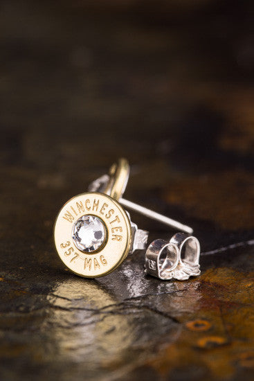 357 Mag Bullet Head Stud Earrings