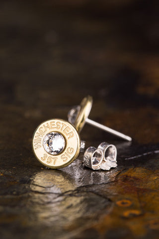 357 Sig Brass Bullet Head Stud Earrings