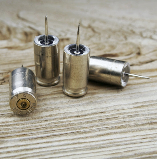 Nickel Bullet Push Pins - Set of 4
