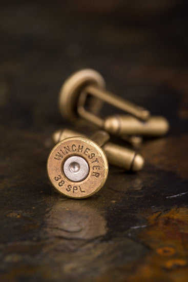Winchester 38 Special Antiqued Brass Bullet Cuff Links