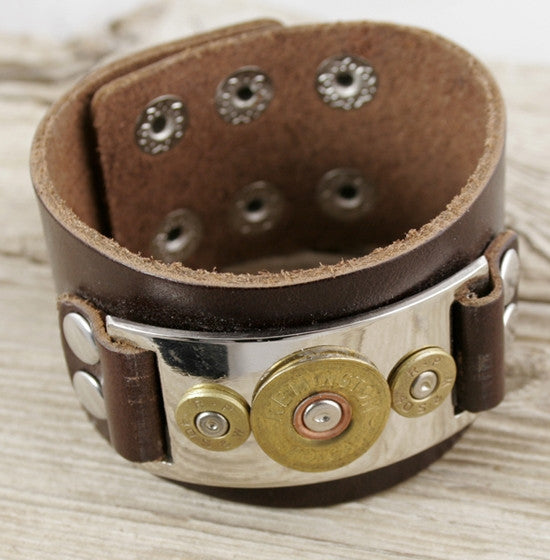 Recycled 3 Bullet Leather Bracelet  Bullet Jewelry