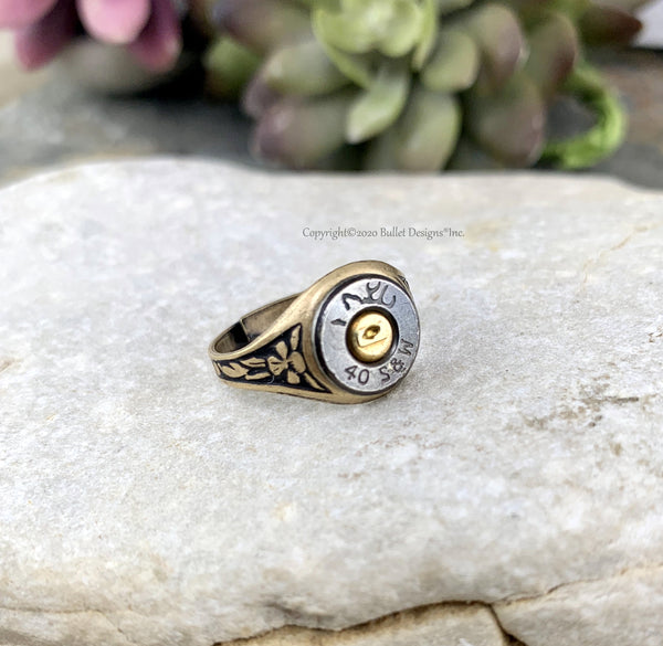 40 Cal Adjustable Black Bullet Ring, Bullet Ring, 40 Caliber, Brass Base