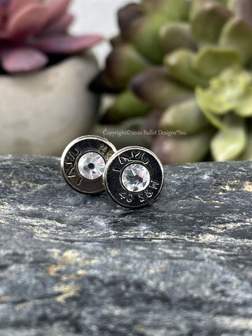 40 Cal Black Bullet Head Stud Earrings Bullet Jewelry