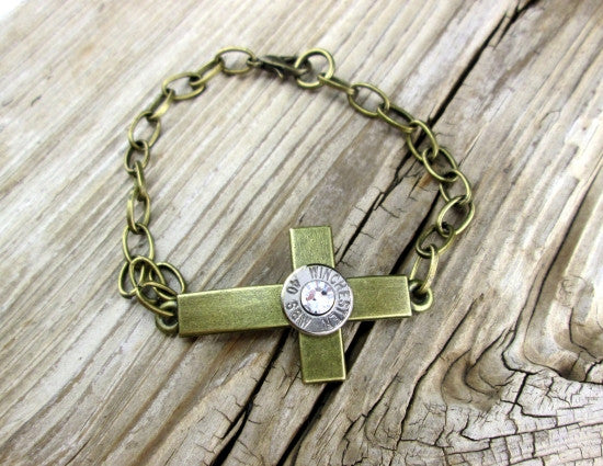 40 Cal Bronze Curved Cross Bracelet
