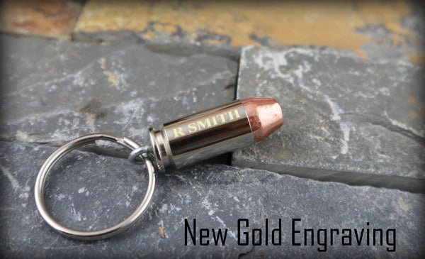 Custom Engraved 40 Caliber Bullet Key Chain Keychain Keyring