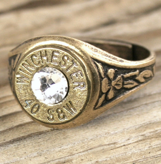 40 Caliber Bullet Ring, Antiqued Brass  Bullet Jewelry
