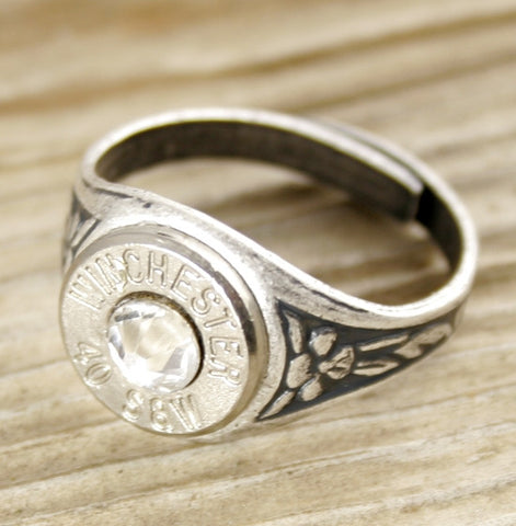 40 Caliber Bullet Ring, Antique Silver