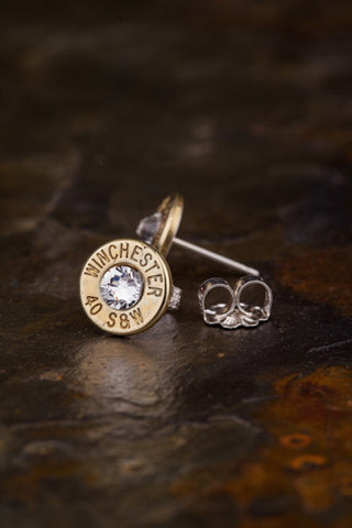 40 Caliber Bullet Head Stud Earrings