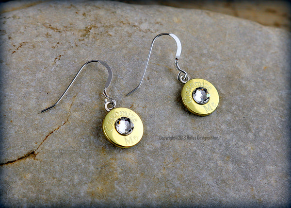 Custom Engraved Simply Dangle  40 Caliber Brass Bullet Earrings