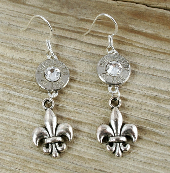 40 Caliber Mini Dangling Fleur De Lis Bullet Earrings