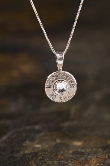 40 Caliber Sterling Silver Bullet Head Necklace
