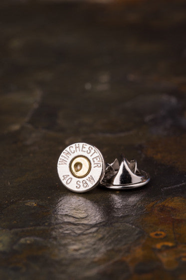 40 Caliber Bullet Tie Tac Hat Pin