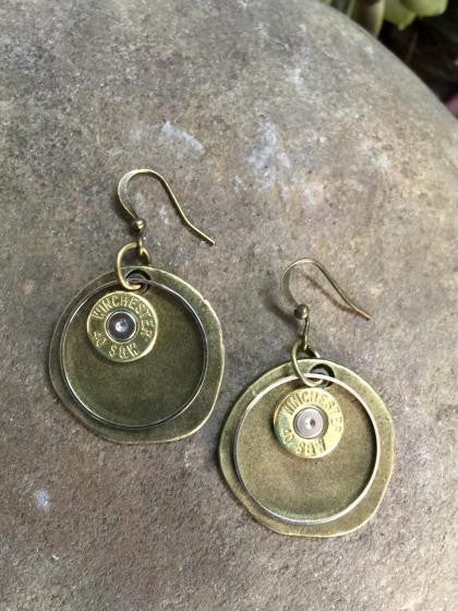 40 Caliber Rustic Round Bullet Earrings