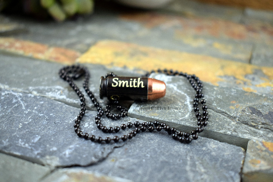 40 S&W Black Bullet Necklace, Gold Engraved, Custom Engraved 40 Caliber Necklace