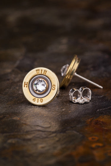 410 Gauge Brass Bullet Head Stud Earrings