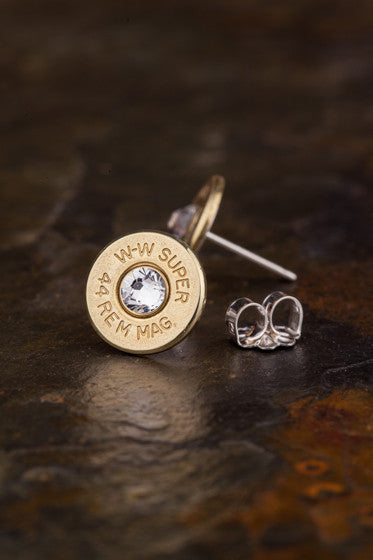 44 Mag Brass Bullet Head Stud Earrings