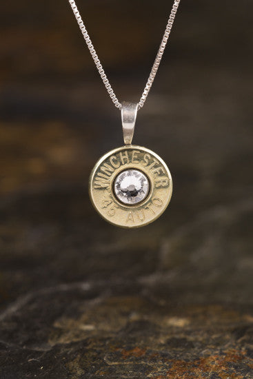 45 Auto Sterling Silver Bullet Head Necklace