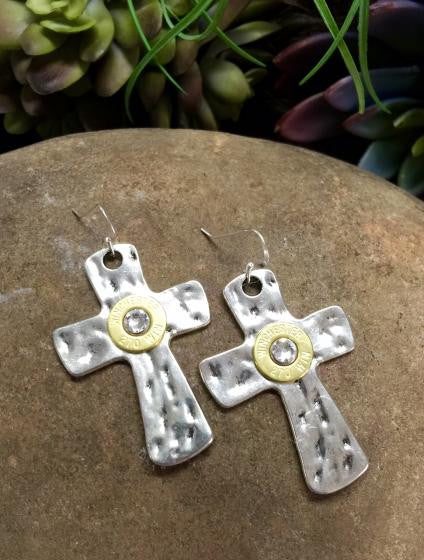 45 Auto Silver Hammered Cross Bullet Earrings