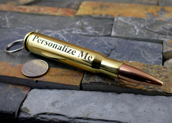 50 Caliber Engraved Bullet & Casing Keychain, 50 BMG, 50 Cal, DARK Engraving, Personalized, Custom