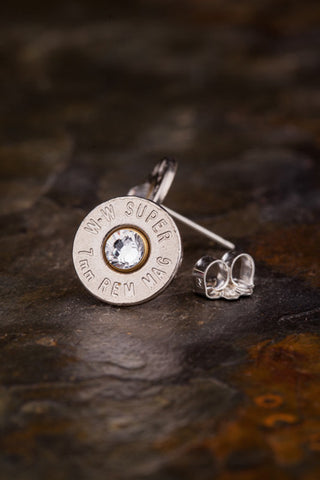 7mm Mag Bullet Head Stud Earrings