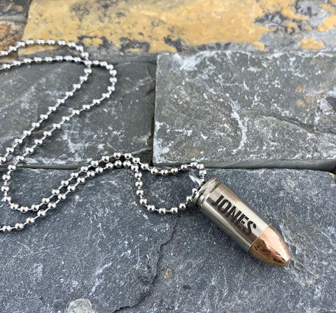 Custom Engraved 9mm Nickel Bullet Necklace, Dark Engraving