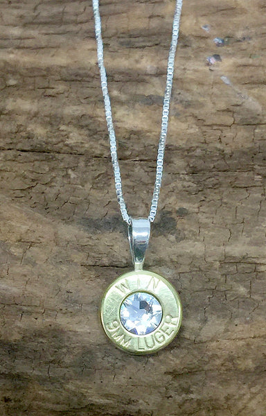 9mm Sterling Silver Bullet Head Necklace