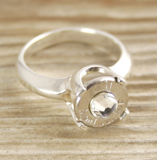9mm Bullet Ring Cathedral Sterling Silver Engagement