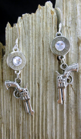 9mm Nickel Bullet Revolver Earrings