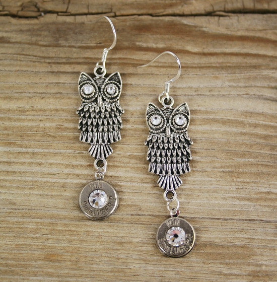 9mm Silver Plated Owl Bullet Earrings