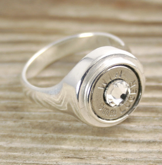 9mm Bullet Ring Sterling Silver Inlaid