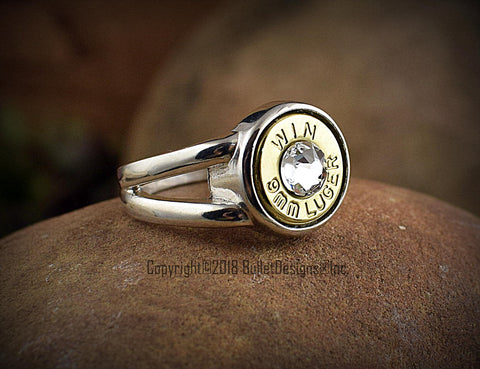 Custom 9mm Bullet Side Split Sterling Silver Ring