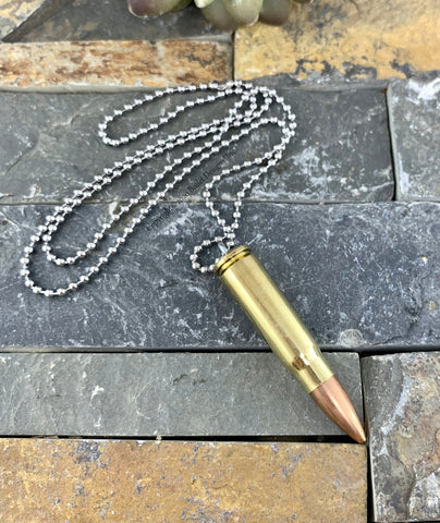 AK-47 Brass Bullet & Casing Necklace, Silver Stainless Steel Ball Chain