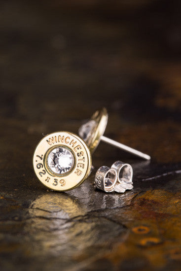 AK-47 Brass Bullet Head Stud Earrings