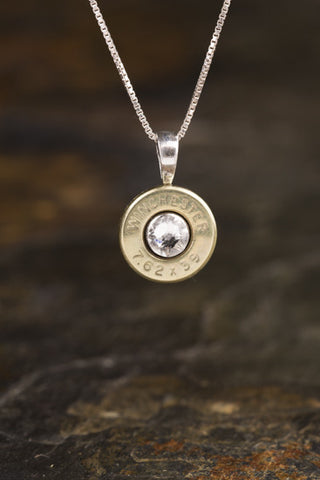 AK 47 Brass Sterling Silver Bullet Head Necklace