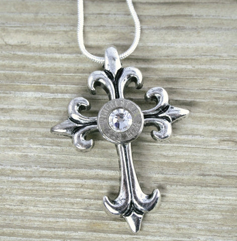 AR-15 Nickel Bullet Cross Necklace